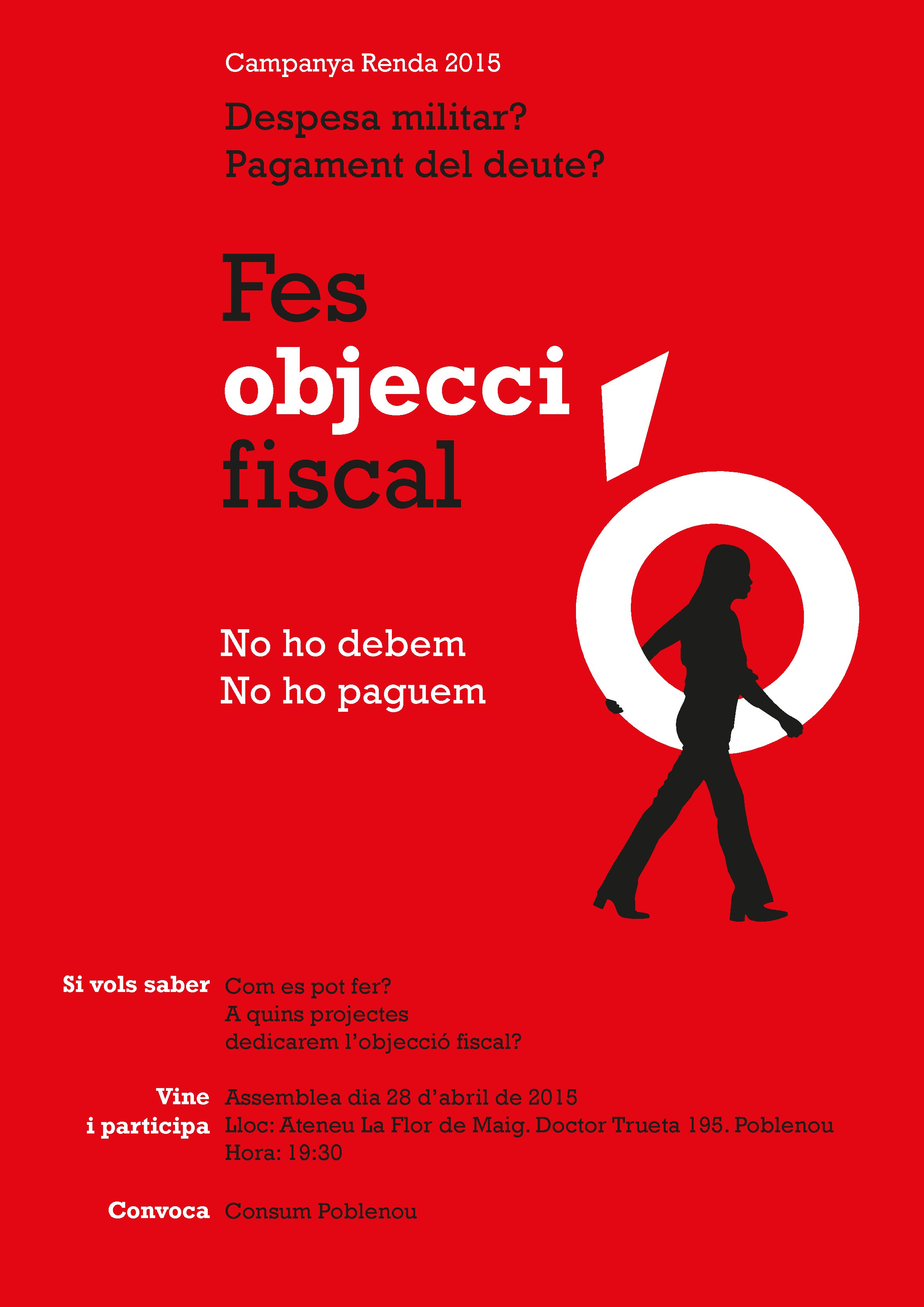 Dimarts 28 d'abril a les 19,30h Xerrada sobre Objecció Fiscal