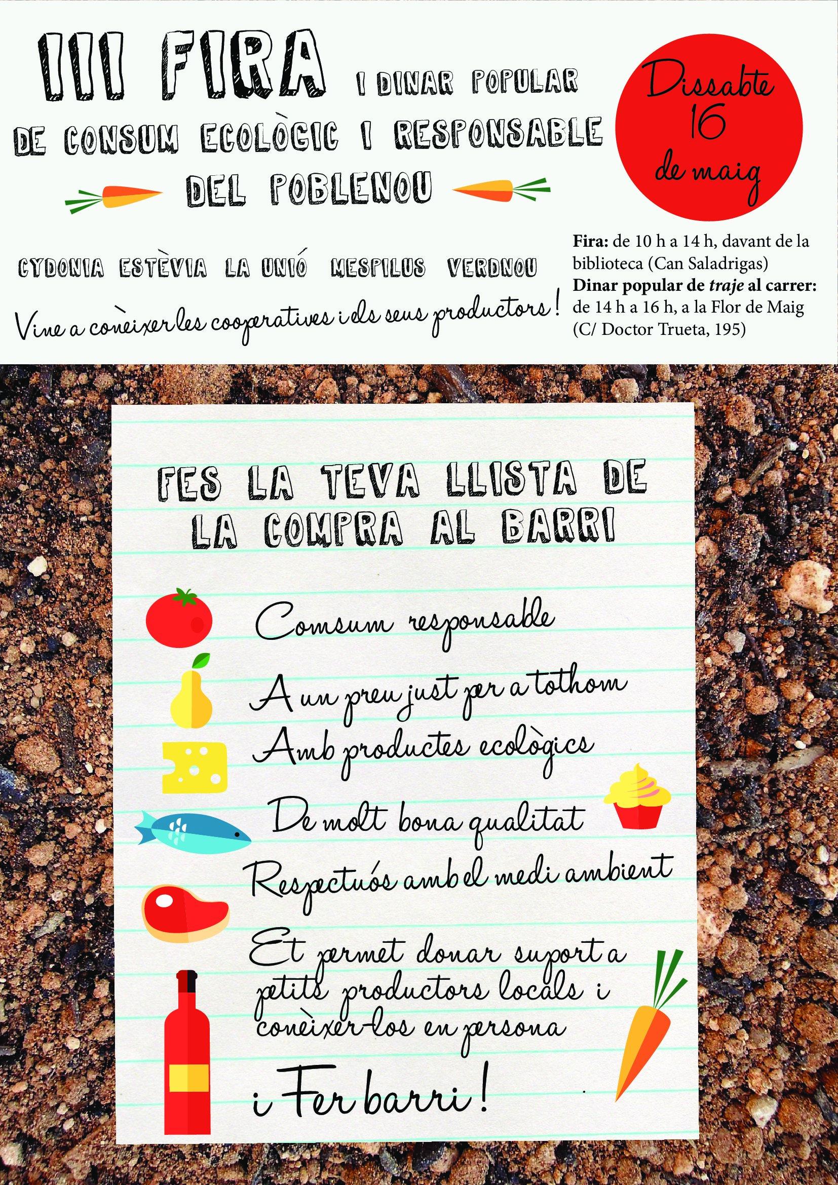 Dissabte 16 de maig Jornada de cooperatives de Poblenou